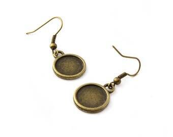 2 medium 34mm bronze cabochon earrings