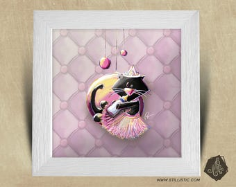 Frame square 25 x 25 with kitten Illustration Princess kids baby room