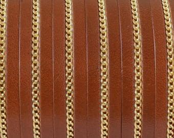 Dish with chain - 10mm - Brown leather and gold - 20 cm