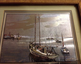"""Lionel Barrymore gold foil etching titled """"Quiet Waters"""""""