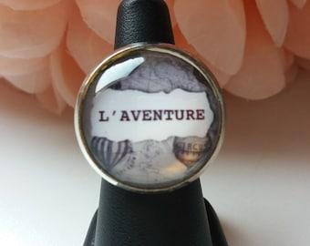 """Adventure"" Adjustable ring 25mm cabochon"