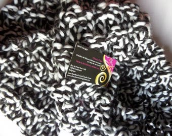 Black and white ombre Snood scarf knitted by hand