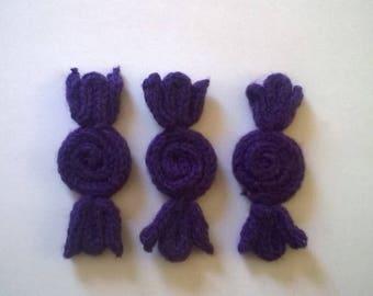 Purple candy, wool, made by knitting.