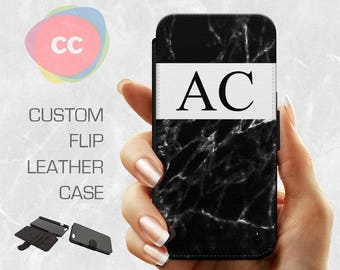 Leather Black Marble Phone Case / Leather iPhone 7 Case / iPhone 6s Case / 6, 5, 5S, 5C, 4S Case / Samsung S7, S6 Leather Case - LPC-191