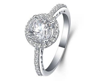CZ Sterling Silver Halo Engagment Wedding Ring Bridal Women's Size 3-13 SAE048