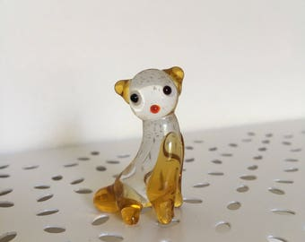 Glass dog, cat miniature