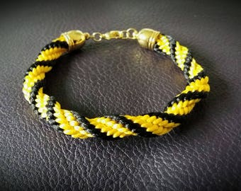 Black and yellow twisted spiral bracelet