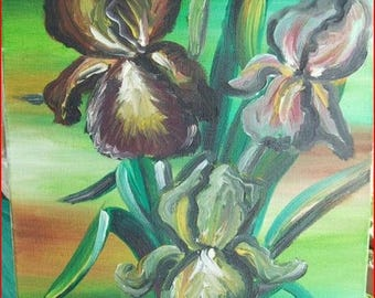 'Bearded Iris' painting in oil on canvas frame.