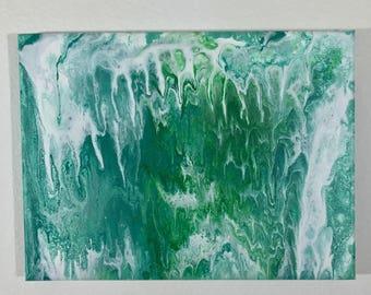 "Original fluid art painting 9""x12"" Waterfall: green cerulean white cells drips and swirls"