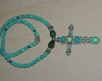 Green Cross mala Necklace! Jade and Agate Pendant Necklace! Boho necklace by Vimas Bijou!