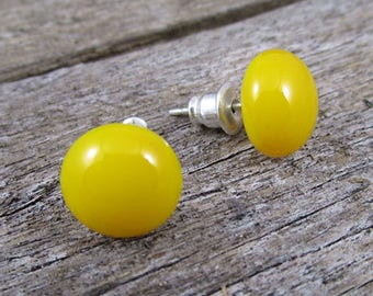 Yellow Stud Earrings Yellow Post Earrings Sterling Silver Stud Earrings Modern Minimalist Studs Yellow Studs Yellow Posts