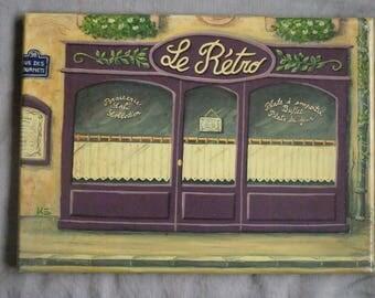 "Vintage style painting ""rétro"" bar"