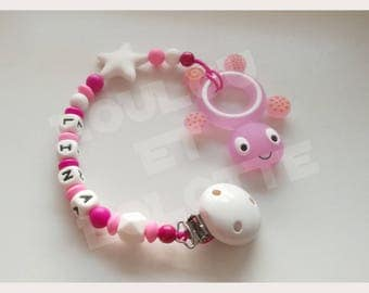 Soother/pacifier personalized silicone + teether/model Lina ring