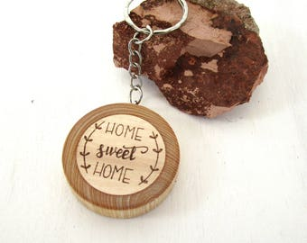 """Key Holder """"Home sweet Home"""" in ash wood and hazelnut from Trentino, Italy. Birthday gift, Communion, confirmation, marriage"""