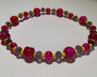 476. Pink, Purple & Yellow Beaded Bracelet. (Stretchy)