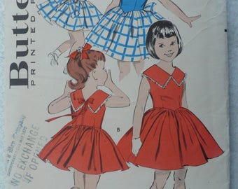 Girl's, Children's Dress Pattern, Vintage 1960's Butterick 8955, Size 4 - UNCUT and RARE