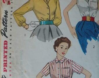 Women's Blouse Pattern, Vintage Simplicity 4256, Size 18 - CoPA Pattern circa 1950
