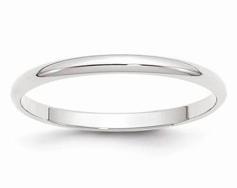 New 10K Solid White Gold 2mm Men's and Women's Wedding Band Ring Sizes 4-14. Solid 10k White Gold, Made in the U.S.A.