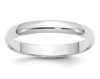 New 14K Solid White Gold 3mm Men's and Women's Wedding Band Ring Sizes 4-14. Solid 14k White Gold, Made in the U.S.A.