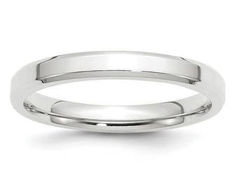 New 14K Solid White Gold 3mm Comfort Fit Bevel Edge Wedding Band Ring Sizes 4-14