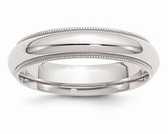 Sterling Silver .925 5mm Comfort Fit Milgrain Men's and Women's Wedding Band Ring Thumb/ Knuckle/ Toe Rings Sizes 4-14 U.S made.