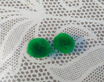 Set of 2 small green pompoms about 15 mm in diameter