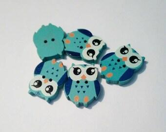 """Lot 5 buttons """"owls"""" / """"owls"""" blue wood"""