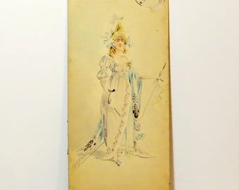 Metropolitan Opera Costume Watercolor Original Signed Drawing 1894 Lady The Met Opera New York Unique 19th Century Signed By Artist