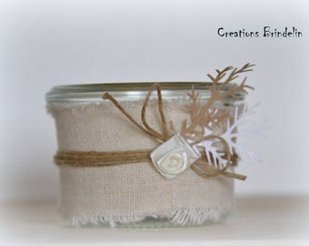 Mini Candle linen, Twine and flower off white fabric