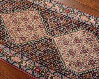 Vintage Persian Bidjar Runner, 2'5''x9'9'', Blue/Ivory, All wool pile