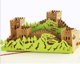 Handmade 3D popup pop up papercraft Great Wall birthday Christmas greeting cards brick mountains castle qin dynasty terracotta army antique