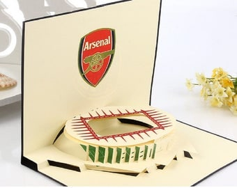 Handmade 3D pop up popup card Arsenal football club emirates stadium birthday card Valentines card father's day mother's day Easter card him