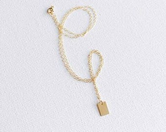 14k Gold Filled Rectangle Dainty Necklace