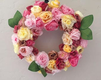 Coffee Filter Rose Wreath