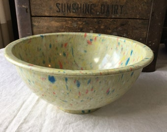 Texas Ware Melamine Mixing Bowl / 118 / Confetti / Garbage Bowl / Beige / Yellow / Blue / Red