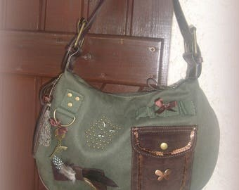 PURSE made of thick canvas and leatherette * khaki and Brown