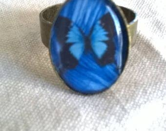 ring bronze cabochon resin butterfly on a dazzling blue background