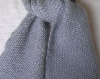 Light grey mohair and silk wool scarf