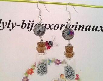 """Earrings glass beads """"grey"""""""