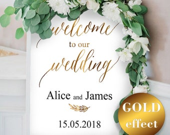 Gold Wedding Welcome Sign Template, Welcome Wedding Sign, Welcome Wedding Printable, Wedding Poster Board, PDF Instant Download #HQT011_12