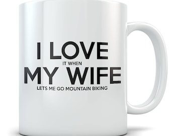 Husband Mountain Biking Gift Idea - Funny Mountain Bikers Mug for Married or Engaged Men - Downhill Bike Gag Gift for Him from Wife, Bride