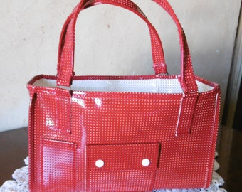 Red lacquered perforated vinyl tote bag