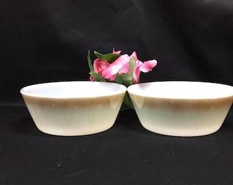 Custard Cup Small Bowls Milk Glass Mesa Green Moss Brown Federal Glass - set of 2