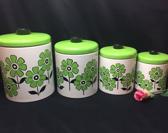 Mod Daisy Flower Metal Canister Set Lime Green and Black - 8 pieces