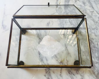 Glass Box with Healing Crystal Inside - Beautiful Gift or Addition to your Home