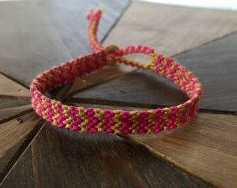 Friendship Bracelet – Double chevron bracelet – Pink and mustard – Friendship bracelet unisex – Boho Chic bracelets – Handmade bracelets