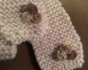 Hand knit Wool Scarf with Burlap Flowers