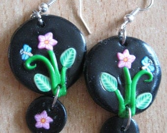 polymer clay rose flower and Dragonfly earrings