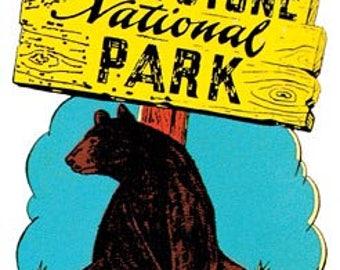 Vintage Style Yellowstone   bear  Montana    National Park   Travel Decal sticker