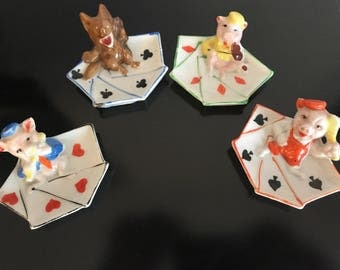 Very RARE 1930's Disney's 3 little pigs and the big bad wolf ashtray set